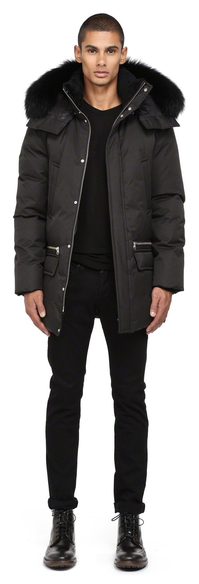 Mackage - STEFANO BLACK WINTER DOWN PARKA FOR MEN WITH FUR HOOD