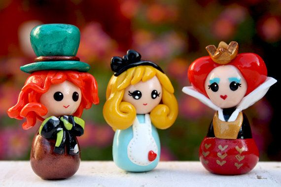 Alice in Wonderland doll Queen of hearts Mad Hatter by Chikipita, $35.00