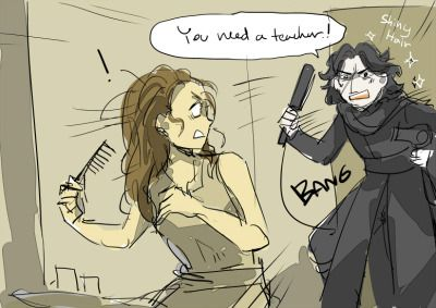 YOUR GOING TO GET SPLIT ENDS!!! Just imagine Kylo Ren randomly popping up in Rey's daily life and try to convince her to be his padawan. by dc9spot