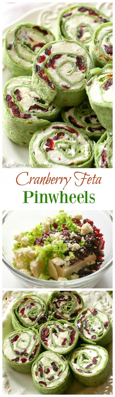Cranberry Feta Pinwheels: a sweet and salty combo that's perfect for a Christmas appetizer. the-girl-who-ate-everything.com