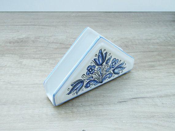 Napkin Holder with blue Flower. Haban Ceramic. 100 by HabanCeramic, $25.00