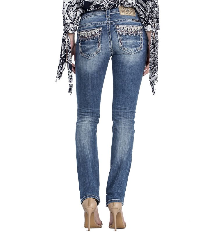 Miss Me Women's Sweet Soul Mid-Rise Straight Cut Jean
