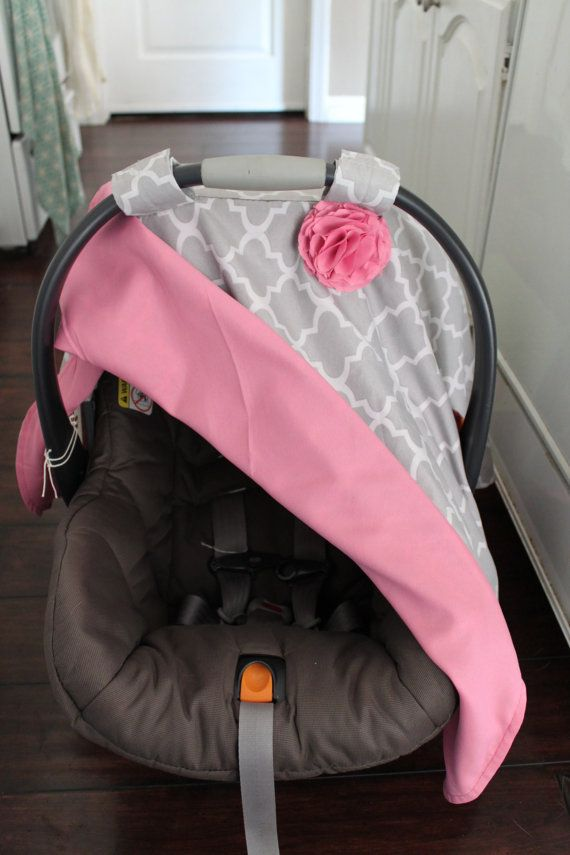 Pink and Grey Quatrefoil Car Seat Canopy - I am definitely buying this for khloe :)