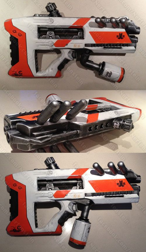 District 9 assault blaster. This was a big project, complete remodel of a Nerf Longshot front gun and Nerf magazine. D9 blaster was born.