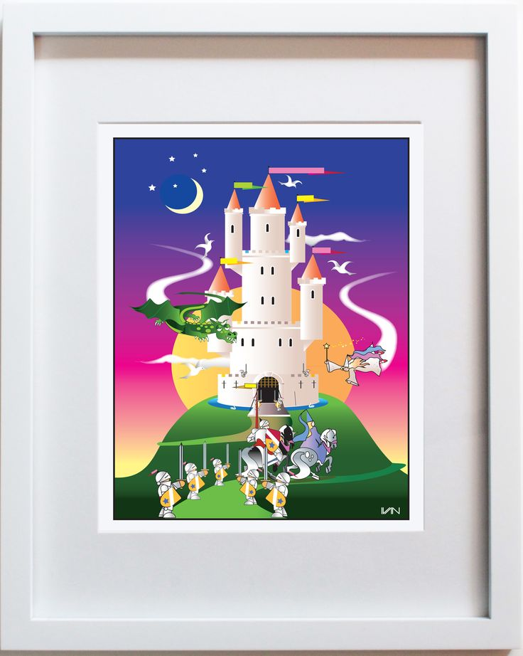 Storybook Castle - original kids room and nursery decor. Can be personalized on our website. Also available in a smaller 8x10in white frame on our website.
