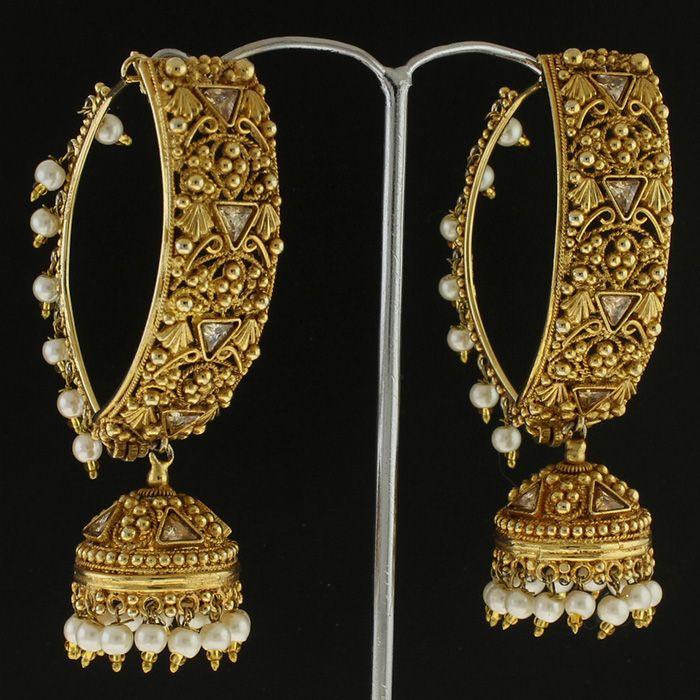 50 % Silver Earrings Polki Pearl Earrings @ Indiatrend For $75.99USD