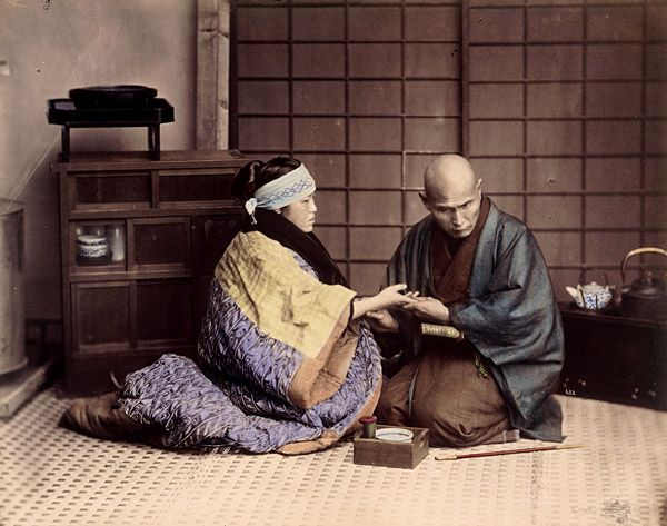 Doctor taking the pulse of a sick woman. About 1880 . Felice Beato or Raimund von Stillfried-Ratenicz