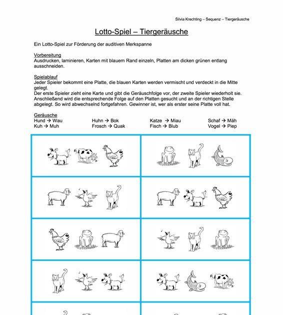 Ein Lotto-Spiel zur Förderung der auditiven Merkspanne (Anforderung: Folgen von drei Lautmalerein) nach den üblichen Lotto-Regeln. Anleitung liegt bei. - zu Kindersprache. Auf madoo.net für deine logopädische Therapie.