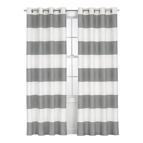 Alston Ivory/Grey Curtain Panel in Curtains | Crate and Barrel: Dining Room, Barrels, Curtain Panels, Crate And Barrel, Living Room, Gold Curtains, Striped Curtains, Alston Ivory Gold, Crates