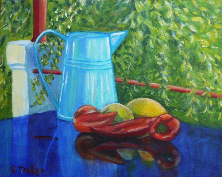 Peppers at the veranda of Metaxart studio  by Eleni Giafi