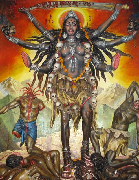 The Mother of Destruction, Kali. (It is said that if you invoke Kali during ritual - be prepared for the possibility of 'overkill' - especially for the purposes of revenge. I like to use her archetype for banishing negativities - but also burn a white candle & have things on my altar that symbolize protection.)