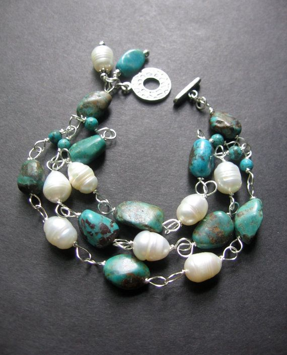 Turquoise Pearl Bracelet, Wire Wrapped Bracelet. Three Strand Bracelet, Southwest Bracelet