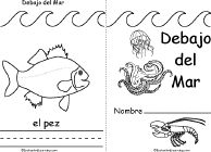 Debajo del Mar/Under the Sea Book, A Printable Book - EnchantedLearning.com // practice writing animals in spanish with printable book