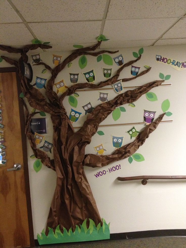 Owl-themed classroom decorations! Such a cute theme for teachers! We made this for my mom.