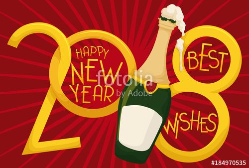 Greeting Design with Frothy Champagne Bottle for New Year: 2018