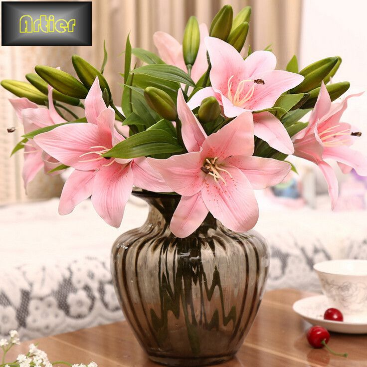 wedding centerpieces fake flowers%0A Artificial Lily Flower PVC Silk Fake Flowers Bridal Wedding Desk Ornaments  Home Table Decoration Supplies Gift