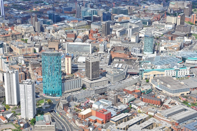 An aerial photograph of the city of Birmingham