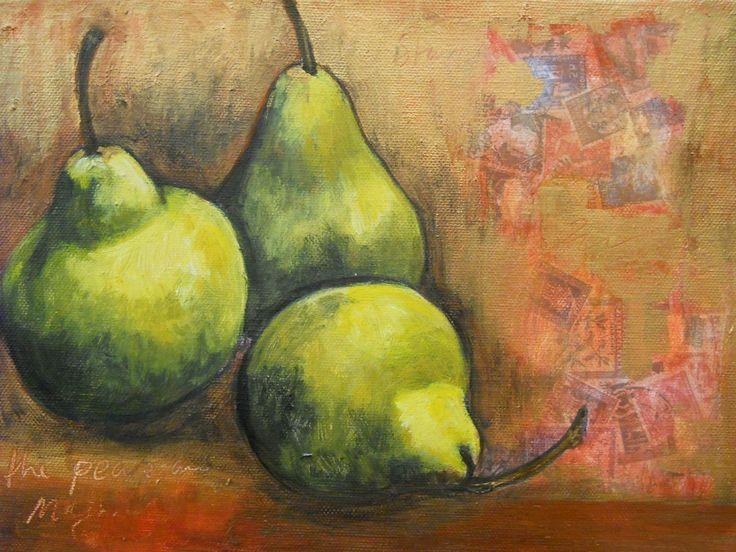 """Gold Pears"" Acrylic on canvas"