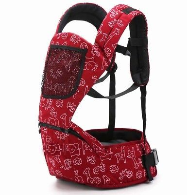Baby Sling Backpack Mom Front two pieces Carrier Infant Seat Multifunction red