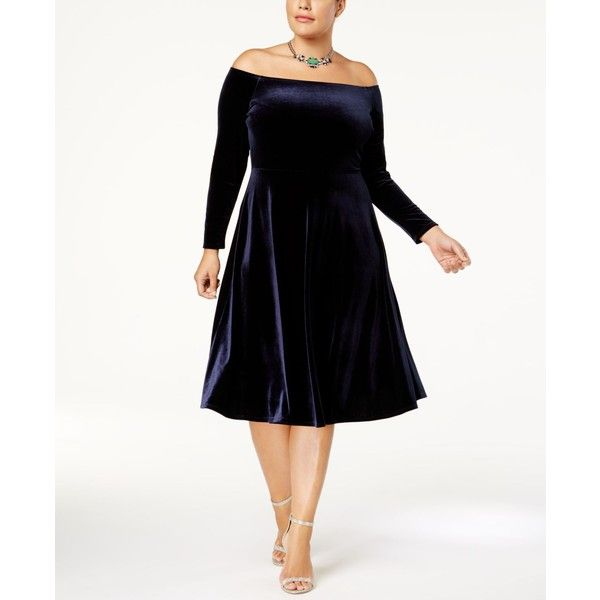 Soprano Trendy Plus Size Off-The-Shoulder Velvet Dress ($45) ❤ liked on Polyvore featuring plus size women's fashion, plus size clothing, plus size dresses, navy, white off-shoulder dresses, white midi dress, plus size midi dresses, plus size velvet dress and white off the shoulder dress