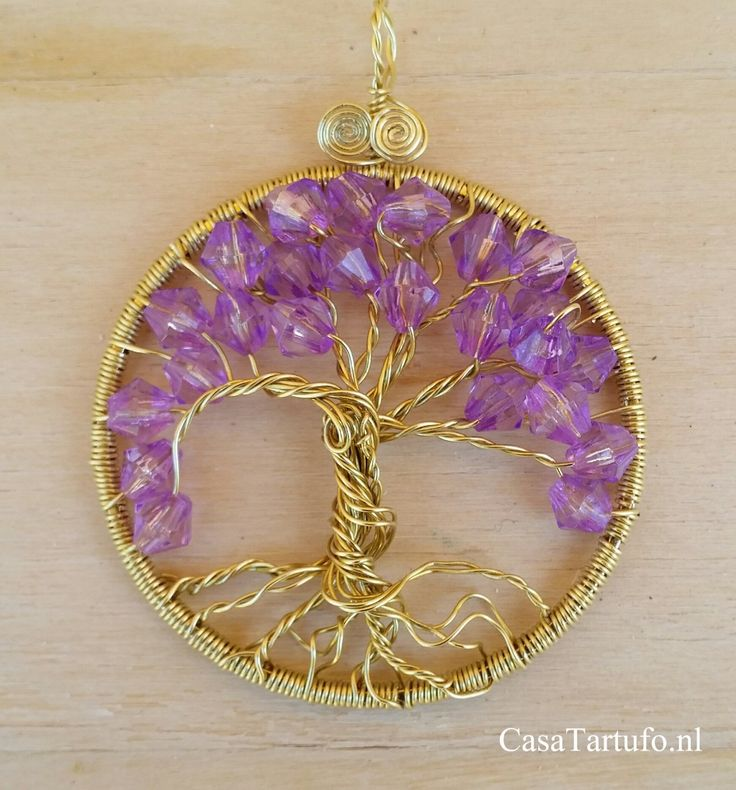 Wire Tree Pendant.  12 Goldwire with purple beads (4 cm). For sale at…