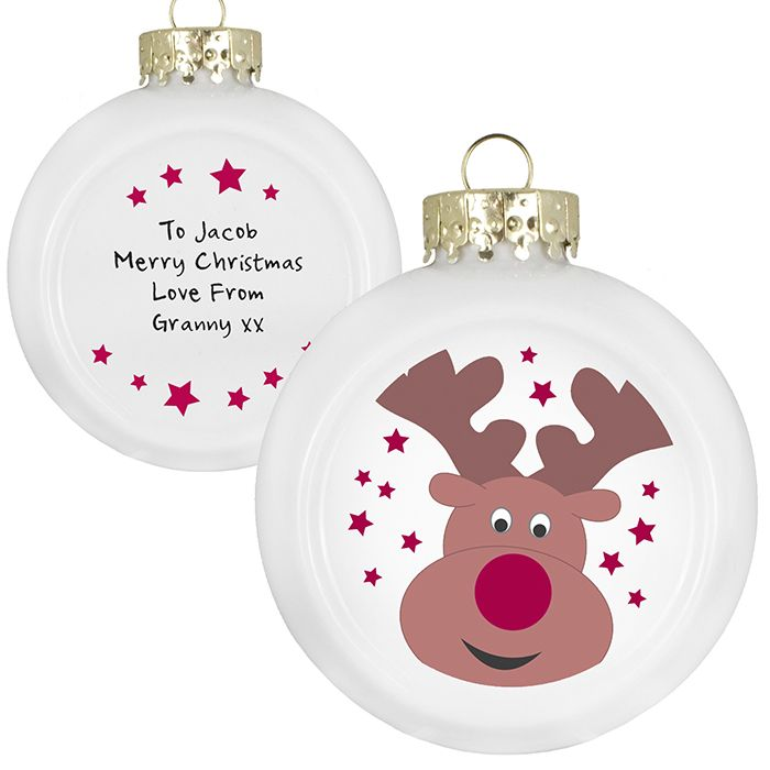 Christmas Tree Baubles.  Personalised with a message on the back over 4 lines.  £7.95 www.bubbleboxdirect.com