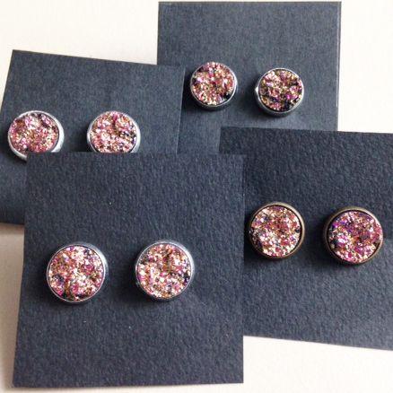 Earrings Druzy red|rose
