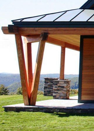 Custom timber frame home design and what a beautiful view!