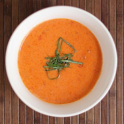 Home made tomato rice soup, made in an electric pressure cooker (Instant Pot).