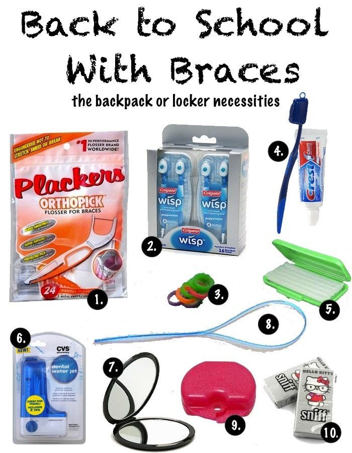 Back-to-School With Braces: The Backpack or Locker Necessities  #braces. Another way to get these all in one place is to buy the Braces Survival Kit from www.DentaKit.com - very handy, and in different versions for teens or adults.