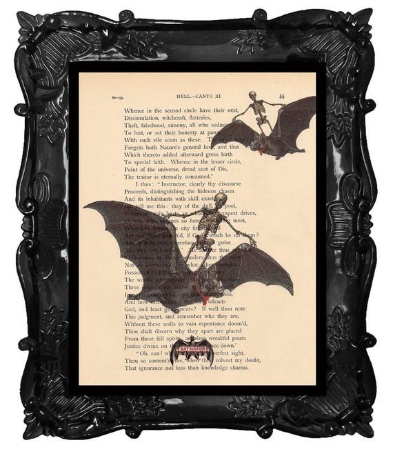 HALLOWEEN ART Bats Print  BAT Surfing   Bats and by BlackBaroque, $10.00