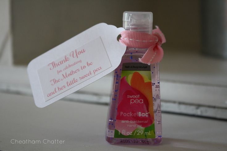 Baby shower favor $1 each! -- good idea since you'll want ppl to use it before they come to hold your baby, I can help make up a poem to go w it to say that in a nice way! -Aileen