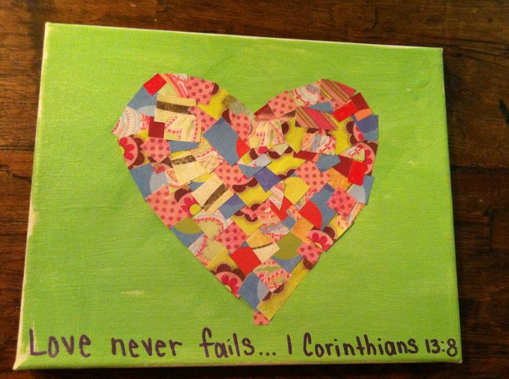 Valentine's Day craft - an all age project using scrapbook paper. Put on canvas or cardstock.