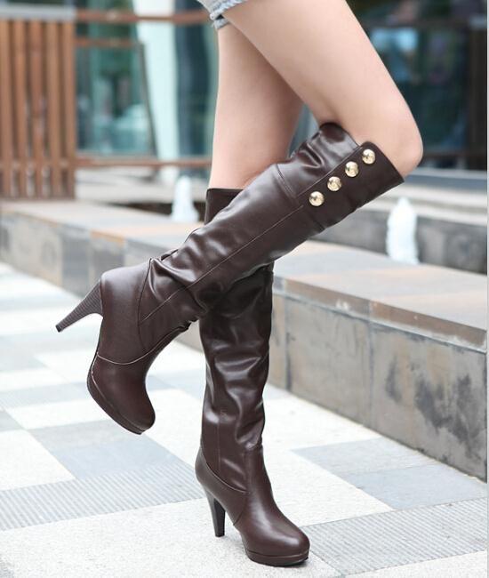 Enmayer осенние длинные сапоги за мотоцикл для женщин на высоких каблуках сапоги туфли на платформе металлические украшения обувь женщин