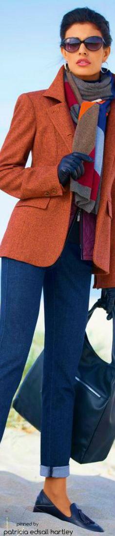 Madeleine - Winter 2015::  Brunt Orange Blazer + Grey Scarf + Rolled Skinny Jeans +Black Loafers & Large Handbag