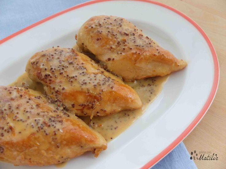 Pechugas de pollo con mostaza y miel