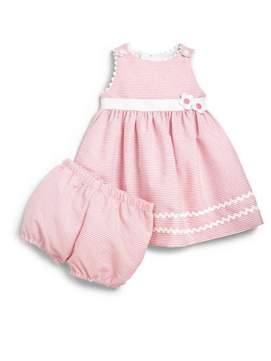 Florence Eiseman - Infant's Two-Piece Striped Rickrack Dress & Bloomers Set