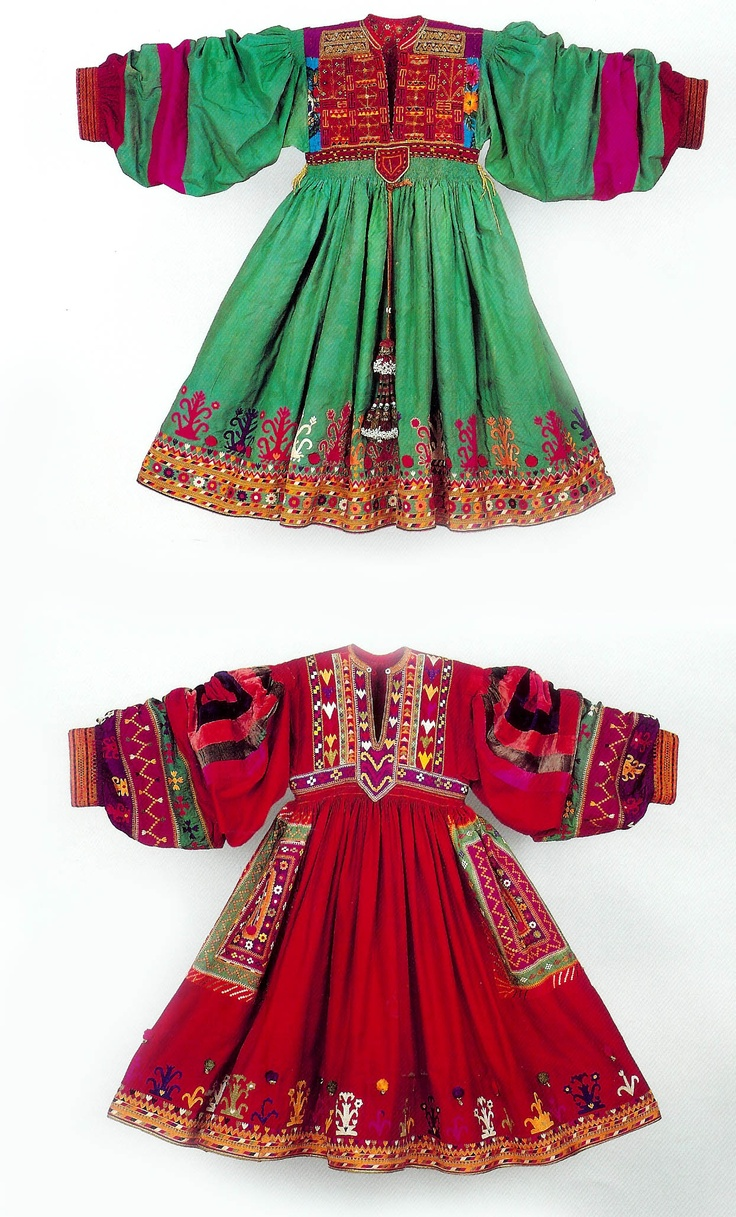 Two silk dresses with embroidery, Turkmen in Afghanistan The Zaira and Marcel Mis Collection