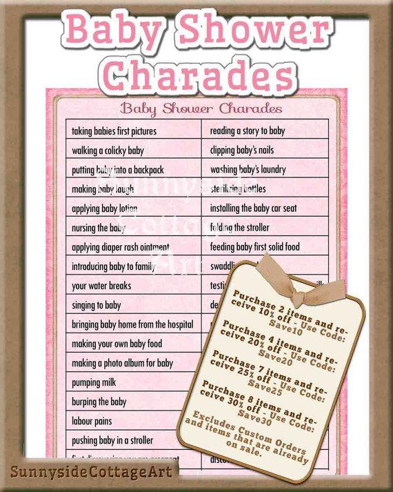 Attractive Baby Shower Charades (Free Printable | Charades, Babyshower And Free  Printable