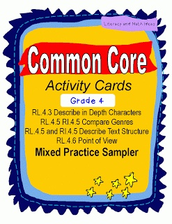 (COMMON CORE READING FREEBIE THAT COMES WITH A PRINTABLE, EASY-FOLD BOX TOO!) Did you know that many of the comprehension topics that will be assessed on the new Common Core Standards are COMPLETELY new to comprehension? Not only that, what is expected for point of view, genre, etc. is different across the grade levels. These activity cards were made exclusively for grade four. This free sample enables you to try out some of my activity cards from my store for free. Click the image