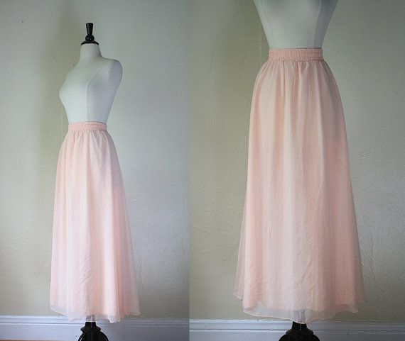 Vintage 80s Skirt / Peach Chiffon Ballerina Skirt / 1980s Maxi Skirt by mousevoxvintage, $24.00