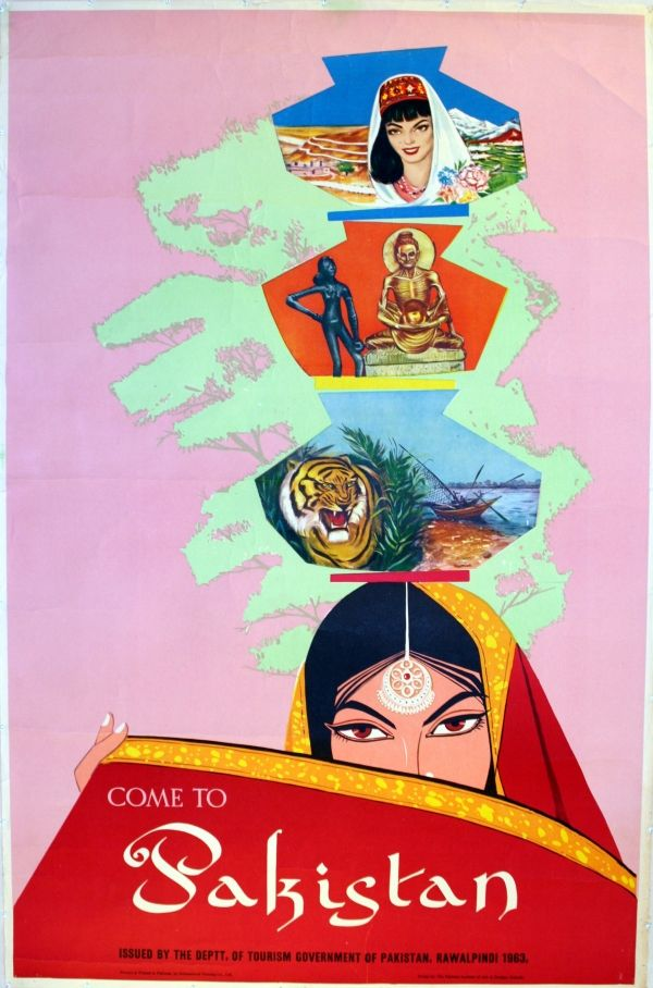 Fantastic image designed by students at the Pakistan Institute of Arts and Design in Karachi. Issued by the Department of Tourism Government of Pakistan Rawalpindi and printed by International Packing Co Ltd. Year: 1963