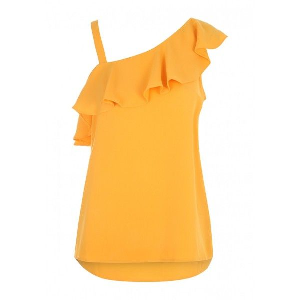 Womens Orange One Shoulder Frill Cami Top ($18) ❤ liked on Polyvore featuring tops, orange cami top, frill top, one sleeve top, ruffle top and ruffle cami top