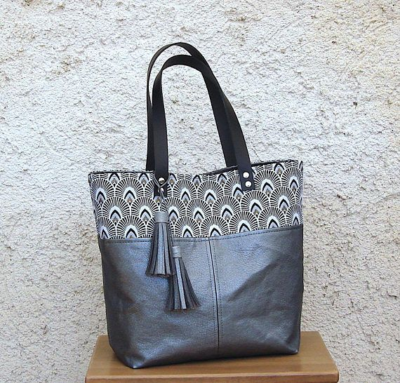 Graphic Gray Fabric Upholstery Bag Dark Leather Tote Faux xoCeBd