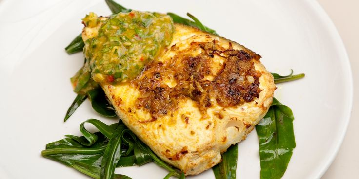 Anna Hansen pairs heavenly marinated halibut fillet with a fiery mango nam prik in this vibrant halibut recipe.