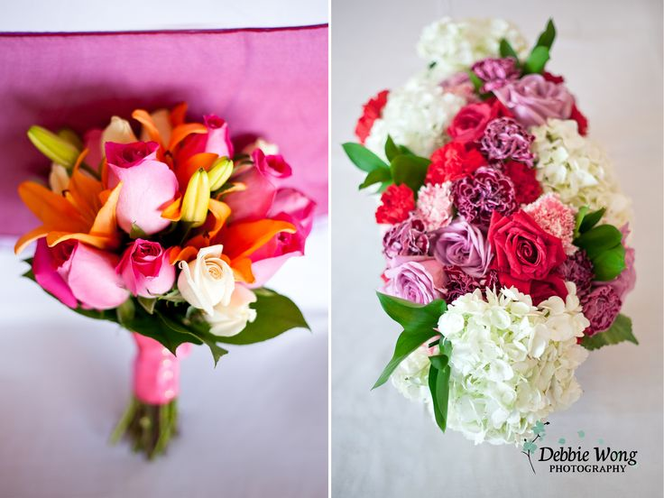 Spring bouquets and table pieces with color pop by Debbie Wong Photography, Calgary Wedding Photographer. Carriage House Inn wedding, www.debbiewongphotography.com