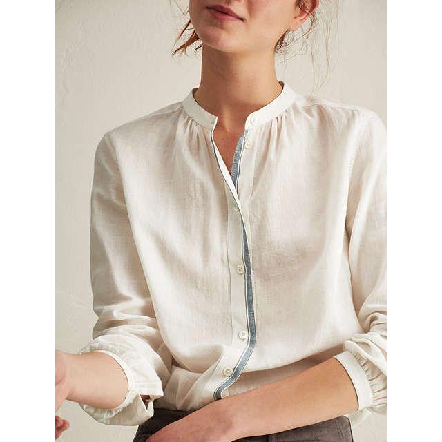 BuyToast Cotton Khadi Collarless Shirt, Off White, 8 Online at johnlewis.com