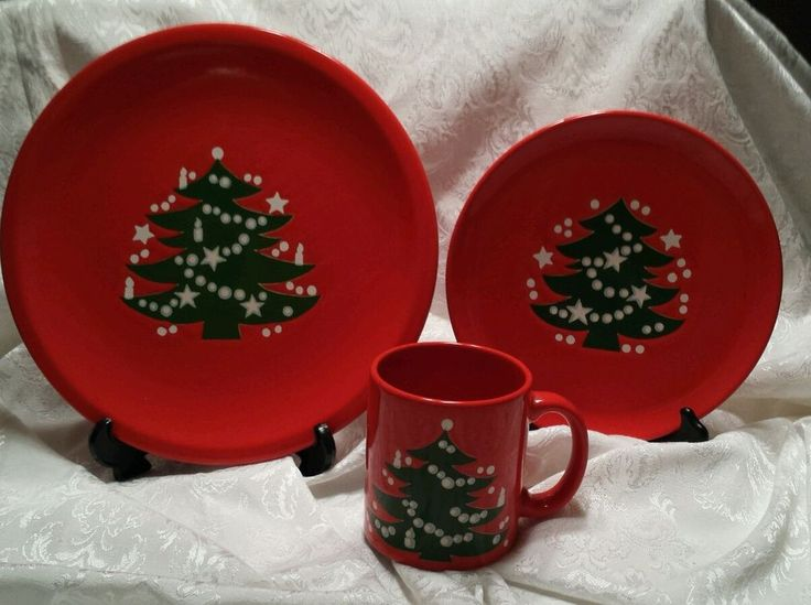 Waechtersbach Red Christmas Tree (3Pc) Place Setting - EUC Lot 3 # Waechtersbach : waechtersbach dinnerware christmas tree collection - pezcame.com
