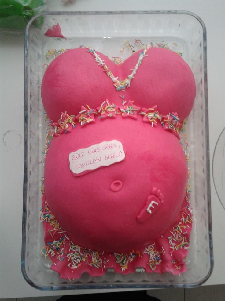"""#babyshower , #pregnantcake, #bellycake  baby shower cake... """"good bye tummy, wellcome baby""""  bebek partisi pastası...  """"güle güle göbek, hoşgeldin bebek"""""""