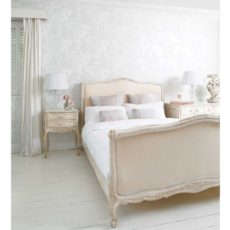 marble top bedroom furniture%0A Delphine French Upholstered Bed  King